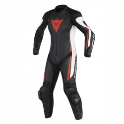 DAINESE ASSEN 1 PIECE PERFORATED LADY - BLACK/WHITE/FLUO-RED