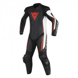 DAINESE ASSEN 1 PIECE PERFORATED - BLACK/WHITE/FLUO-RED