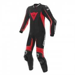 DAINESE D-AIR RACING MISANO PERFORATED - BLACK / BLACK / RED FLUO