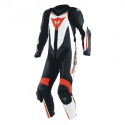 DAINESE LAGUNA SECA D1 1 PIECE PERFOREE - NOIR / BLANC / FLUO-ROUGE