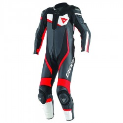 DAINESE VELOSTER 1 PIECE PERFOREE - NOIR / BLANC / FLUO-ROUGE