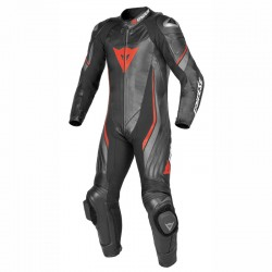DAINESE TRICKSTER EVO C2 PERFORATED 1 PIECE - BLACK / BLACK / RED FLUO