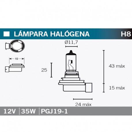 VICMA LAMPARA HALOGENA H8 PGJ19-1