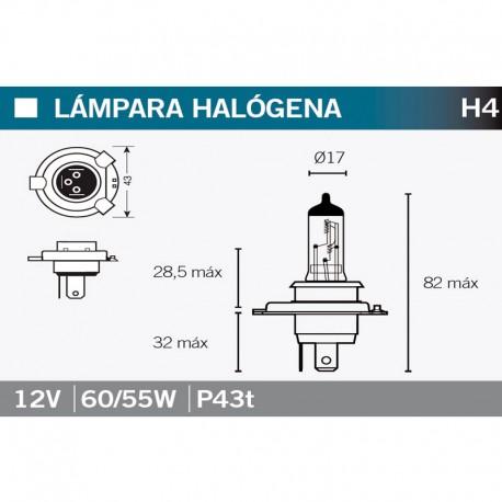 VICMA LAMPARA HALOGENA H4 P43t