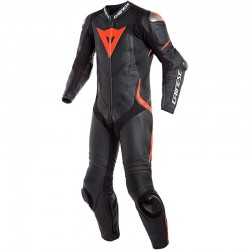 DAINESE LAGUNA SECA 4 1 PIECE PERFORATED - BLACK / BLACK / RED FLUO